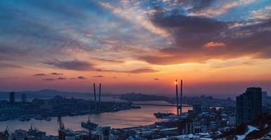 paysage urbain, coucher de soleil.