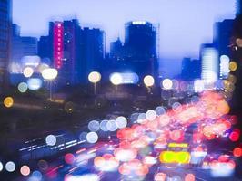 trafic de nuit de la ville de guangzhou photo