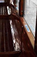 siège sur un vieux tram photo