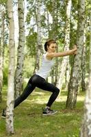 jeune femme, exercisme, dans parc photo