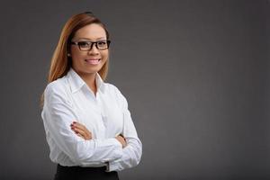 gestionnaire de femme joyeuse photo