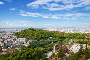 paysage d'Athènes: vue depuis l'acropole photo