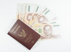 passeport thaïlande avec de l'argent photo