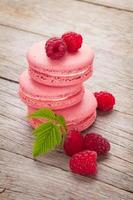 biscuits macaron framboise rose photo