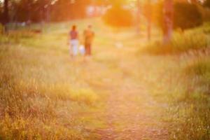 chemin défocalisé sur coucher de soleil photo