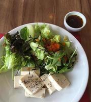 salade de tofu avec quinoa sur le dessus et vinaigrette
