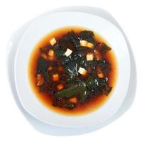 vue de dessus de soupe miso