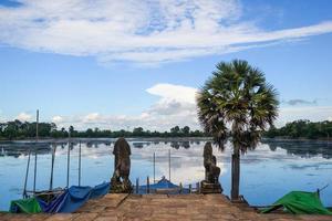 ciel bleu et lac, un palmier se tient à côté