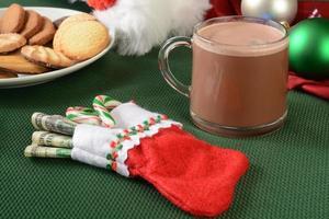 Stockilng de Noël farci d'argent photo