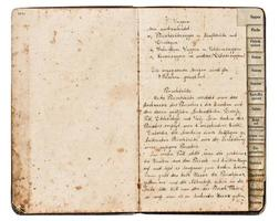 livre de recettes antique avec texte manuscrit