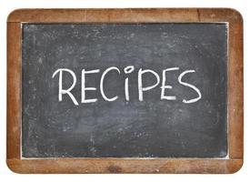mot de recettes sur tableau noir