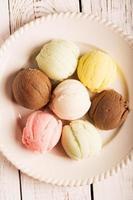 boules de crème glacée multicolore