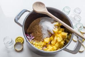 ingrédients et préparation de chutney d'oignon et d'oignon photo