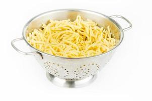 spaghetti dans une passoire