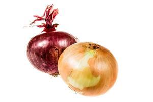 oignon rouge et or oignon isolé photo