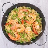 riz, pois et crevettes