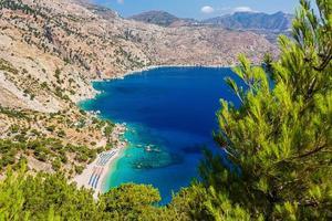 belle plage d'apella sur l'île de karpathos. Grèce.