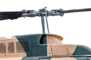 Gros plan du rotor de l'hélicoptère militaire