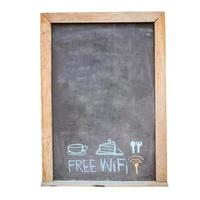 menu de boissons et de nourriture et symbole wifi gratuit photo