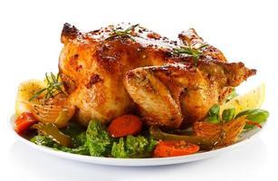 poulet rôti et légumes