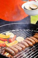 Kebab grillé et légumes