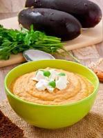 crème de soupe d'aubergine à la feta