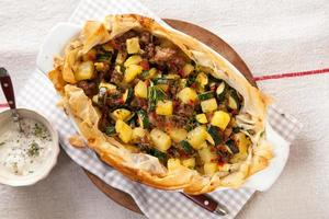 tarte à la viande et aux légumes