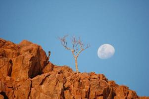 lune sur rocher rouge