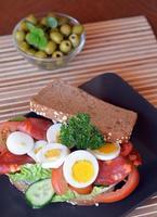 Sandwich frais et savoureux avec du salami et des légumes sur une plaque