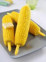 épis de maïs cuits à la vapeur sur une plaque photo