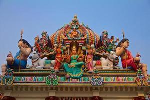 dieux hindous sur un toit de temple