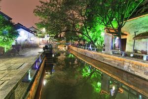 chine suzhou canal rue crépuscule photo