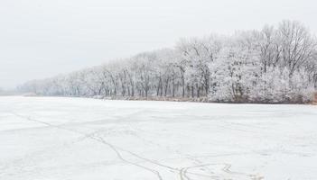 heure d'hiver dans le lac de la forêt photo