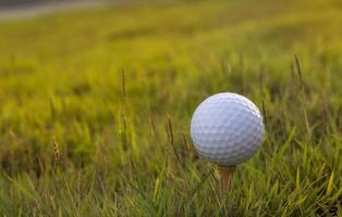 balle de golf sur fond d'herbe verte photo