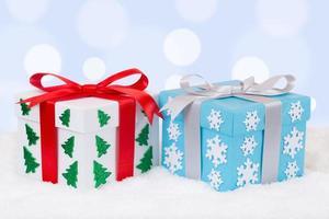 décoration de cadeaux de Noël avec fond