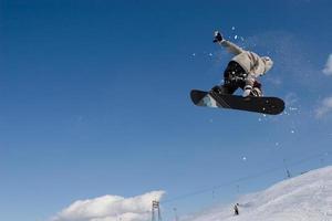 photographie de snowboarder dans les airs faisant un tour photo