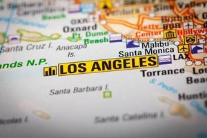 los angeles city sur une carte routière photo