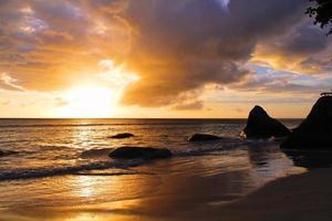 plage, coucher de soleil, océan