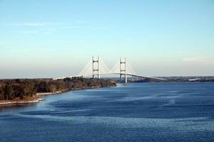 vue aérienne, de, les, beau, bleu, rue johns, rivière, et, pont photo