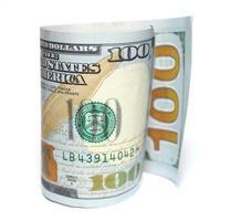 Cent nouveaux dollars closeup sur fond blanc photo