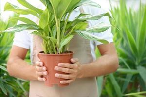 joli fleuriste tenant un pot de fleurs photo