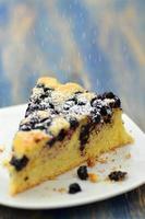 morceau de délicieux gâteau éponge fruité fait maison avec des bleuets