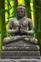 statue de Bouddha gris avec fond de bambou