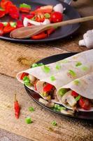 tortilla de poulet aux champignons, ail