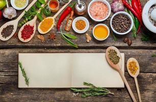 recettes de livres vierges et diverses épices