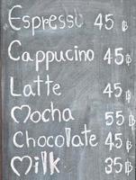 menu café tableau noir