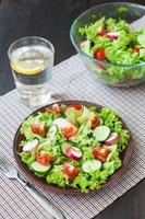 salade de tomates et concombres aux feuilles de laitue