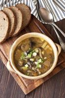 soupe aux champignons dans un bol en céramique