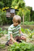 garçon dans la maison jardin photo