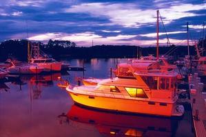 Marina de bateau à jacksonville beach floride au coucher du soleil